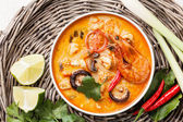 Spicy Thai soup Tom Yam — Stock Photo