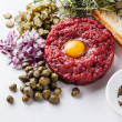 Beef tartare with capers — Stock Photo