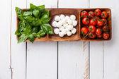 Basil, mozzarella, tomatoes — Stock Photo