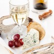 Dor Blue cheese, grapes and wine — Stock Photo #46387649