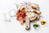Cured Meat, Cheese, Bread — Stock Photo