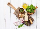 Ingredients for Preparing pesto — Stock Photo