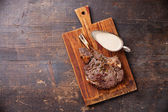 Rib eye Steak with pepper sauce — Stock Photo