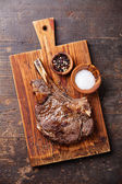 Rib eye Steak with salt and pepper — Stock Photo