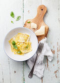 Ravioli pasta with cream sauce — Stock Photo