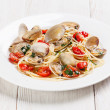 Seafood pasta with clams in tomato sauce Spaghetti alle Vongole — Stock Photo