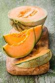 Fatias de melão cantalupo — Foto Stock
