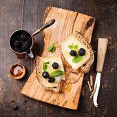 Italian bruschetta sandwich with cheese — Stock Photo