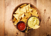 Fresh salsa and guacamole dips — Stock Photo