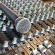 Microphone on a mixing desk — Stock Photo