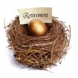 Retirement savings golden nest egg — 图库照片