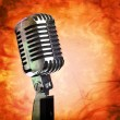 Vintage microphone on grunge background — Stock Photo