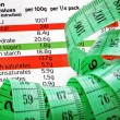 Nutrition label and measure tape — Stock Photo