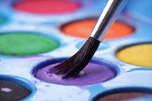 Artist's watercolour palette with brush — Stock Photo