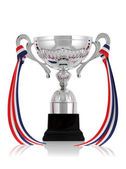 Silver trophy with ribbon — Stock Photo