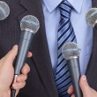 Interview with microphone - Stock Photo