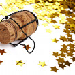 Stock Photo: Confetti and champagne cork
