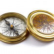 Antique brass compass — Stock Photo