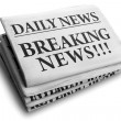 Breaking news daily newspaper headline — Stock Photo
