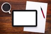 Blank digital tablet on desk — Stock Photo