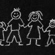 Chalk drawing of a family — Stock Photo