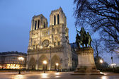 Notre Dame cathedral at night — Stock Photo