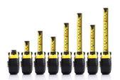 Gráfico de barras con cinta métrica — Foto de Stock