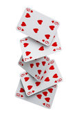 Straight flush cards falling — Stock Photo
