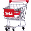 Sale sign on shopping cart — Stock Photo