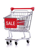 Sale sign on shopping cart — Stockfoto