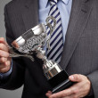 Winning business trophy — Stock Photo