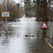 Stock Photo: Flood sign in road