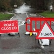 Stock Photo: Road closed and flood sign