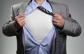 Superman pose businessman — Stock Photo