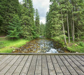 Footbridge across the mountain stream — Stock Photo