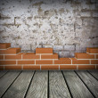 Stock Photo: Room with partially built brickwall