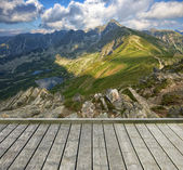 Terrace and mountain — Stock Photo