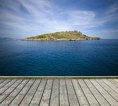 Jetty with small island — Stock Photo