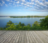 Terrace and lake — Stock Photo