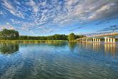 Bridge on lake — Stock Photo
