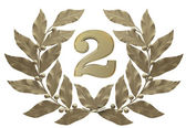 Silver figure 2 in a laurel wreath. Second prize-winning place — Stock Photo