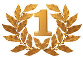 Gold figure 1 in a laurel wreath. First place of the winner — Stock Photo