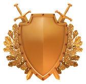 Gouden bord met de gekruiste zwaarden — Stockfoto