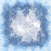 New Year's frame from hoarfrost with a light background — Foto Stock