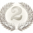 Figure two in silver wreath from laurels — Stock Photo #27001773