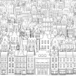 A sketch of the city, drawn by a black outline — Stock Photo