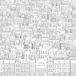 Background from the drawn black outline of buildings — Stock Photo