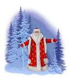 Santa Claus on a background of a winter forest — Stock Photo