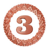 The symbol of the Third place in a circular Laurel wreath made of bronze — Stock Photo