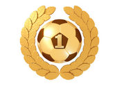 Golden Soccer ball with figure 1 in a gold Laurel wreath — Stock Photo